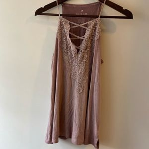American Eagle Lace Embroidered Soft Tank Top XS